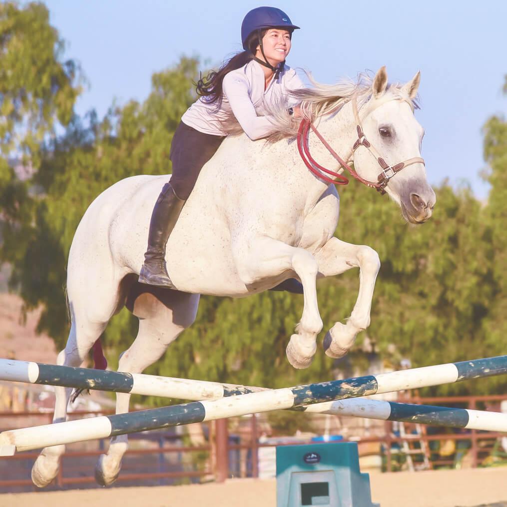 horse jumping bareback and bitless